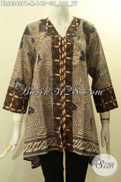 Batik Blus Solo Model Kancing Depan, Baju Batik Kartini Kwalitas Istimewa Motif Mewah Bahan Adem Harga 145K, Size M