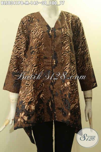 Model Baju Batik Wanita Muda Kekinian, Blus Batik Elegan Desain Kartini Di Lengkapi Kancing Depan, Cocok Banget Buat Ngantor [BLS8341PB-M]