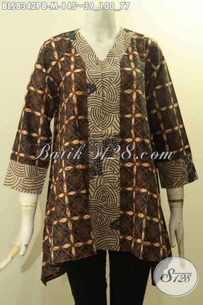 Batik Blus Halus Model Kartini, Pakaian Batik Modern Dengan Kancing Depan Motif Bagus Kwalitas Istimewa Proses Printing Cabut Hanya 145K, Size M