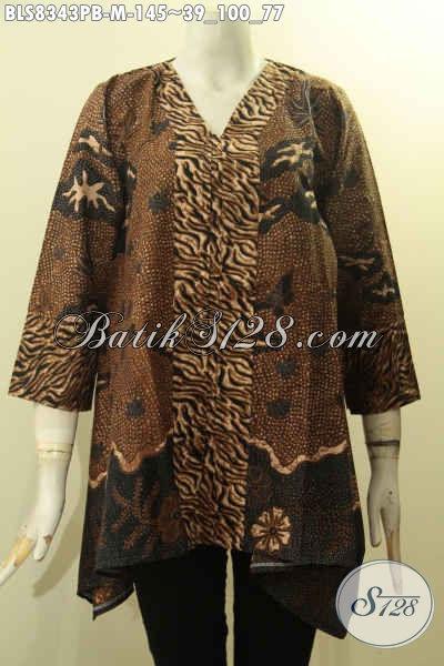 Pakaian Batik Blus Kartini Seragam Kerja Wanita Kantoran Tampil Elegan Berkelas, Busana Batik Kancing Depan Motif Bagus, Cocok Juga Buat Kondangan, Size M