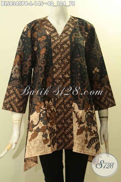 Busana Batik Wanita Kekinian, Blus Batik Kancing Depan Desain Kartini Elegan Untuk Kerja Berkelas Untuk Acara Resmi, Size L