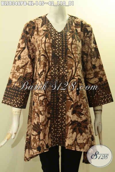 Model Baju Batik Blus Wanita Dewasa Terbaru, Baju Batik Kerja Elegan Desain Kartini Kancing Depan Untuk Penampilan Lebih Berkelas, Size XL