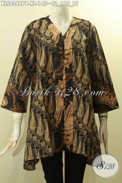Produk Pakaian Batik Blus Solo Istimewa Untuk Wanita Tampil Gaya Dan ELegan, Batik Kerja Model Kartini Kancing Depan Hanya 100 Ribuan Size XL