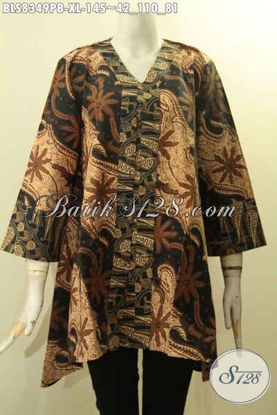 Sedia Pakaian Batik Wanita Masa Kini, Blus Batik Elegan Model Kartini Di Lengkapi Kancing Depan Untuk Penampilan Lebih Berkelas Nan Mempesona, Size XL