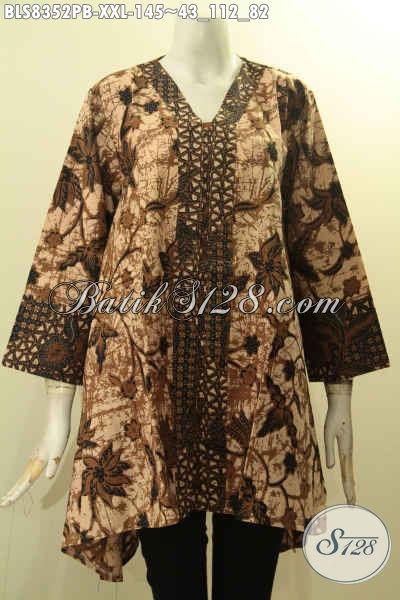 Koleksi Baju Batik Solo Untuk Wanita Gemuk, Blus Batik Kartini Kancing Depan Bahan Adem Motif Elegan Printing Cabut Hanya 145 Ribu, Size XXL