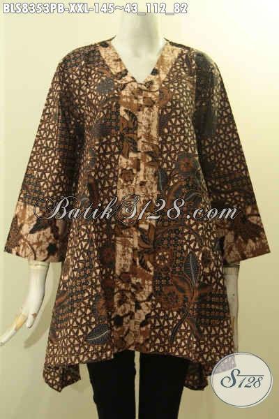 Model Baju Batik Atasan Wanita Dengan Kancing Depan, Blus Batik Kartini Nan Elegan Untuk Wanita Gemuk L3 Yang Membuat Penampilan Cantik Menawan, Size XXL