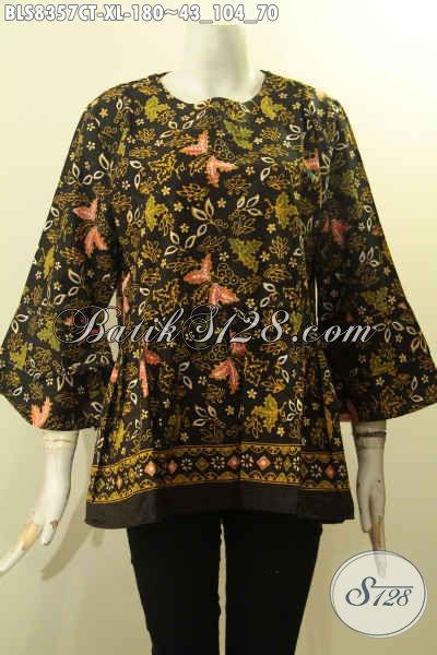 Pakaian Batik Solo Istimewa Model Lengan Tumpuk Pakai Kancing Depan, Blus Batik Elegan Dan Modis Proses Cap Tulis, Cocok Untuk Kerja Dan Acara Resmi, Size XL