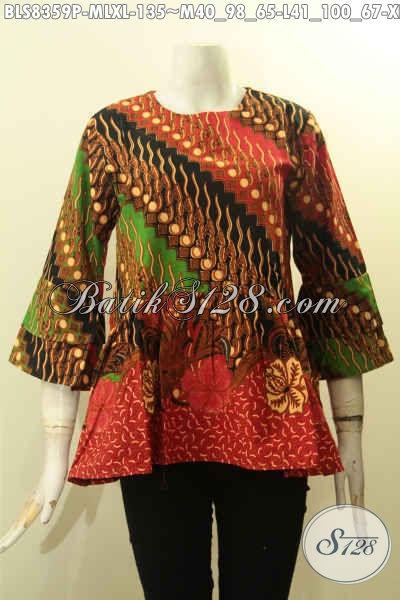Aneka Baju Batik Lengan Tumpuk Dengan Kacing Belakang Bahan Halus Motif Klasik Proses Printing, Pakaian Batik Berkelas Dengan Harga Terjangaku, Size M – L – XL