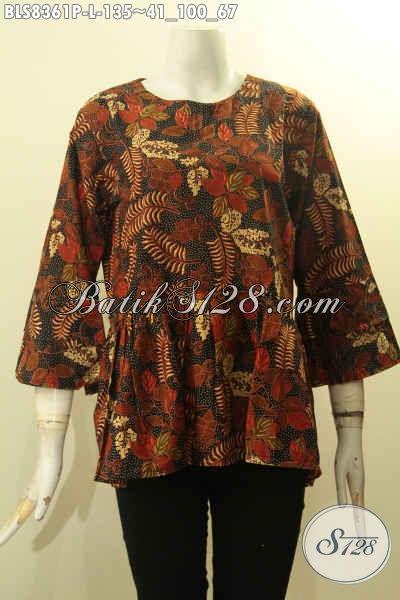 Pusat Baju Batik Solo Online, Sedia Blus Lengan Tumpuk Bahan Adem Motif Trendy Desain Mewah Di Lengkapi Kancing Belakang, Bikin Penampilan Mempesona, Size L