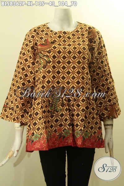 Model Baju Batik Solo Tren 2018 Untuk Penampilan Berkelas Dan Modis, Busana Batik ELegan Lengan Tumpuk Kancing Belakang Hanya 135K, Size XL