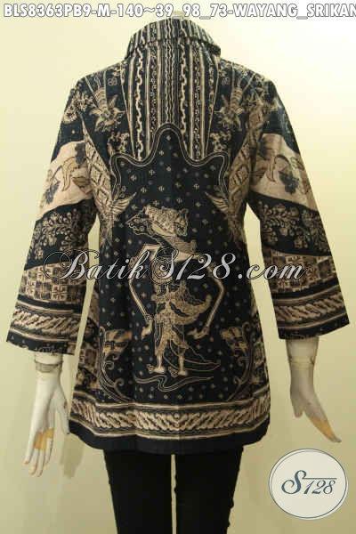 Model Baju Batik Wanita Muda Motif Wayang Srikandi, Busana Batik Berkrah Bahan Adem Kwalitas Istimewa Proses Printing Cabut, Pas Banget Untuk Acara Formal, Size M
