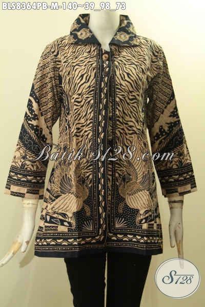 Model Baju Batik Atasan Wanita Dengan Krah, Blus Batik Elegan Motif Sinaran Proses Printing Cabut, Elegan Untuk Acara Resmi Harga 140K [BLS8364PB-M]