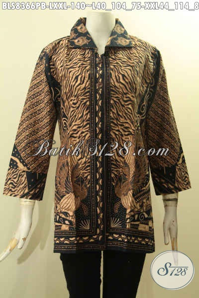 Batik Blus Solo Halus Motif Sinaran Berkerah, Busana Batik Kerja Nan Istimewa Proses Printing Harga Murmer Bahan Adem Nyaman Di Pakai, Size L