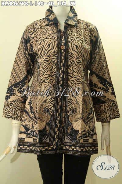 Koleksi Terkini Blus Batik Wanita Elegan, Baju Batik Berkelas Motif Sinaran Proses Printing Cabut Kwalitas Istimewa Hanya 140K, Cocok Untuk Acara Resmi, Size L
