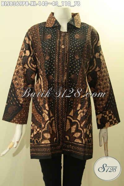 Model Busana Batik Wanita Kekinian, Hadir Dengan Krah Berpadu Motif Klasik Sinaran Nan Elegan Proses Printing Cabut Hanya 100 Ribuan Saja [BLS8369PB-XL]