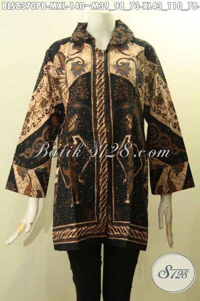 Baju Batik Solo Jawa Tengah Khas Jawa Tengah, Busana Batik Blus Berkrah Desain Mewah Pakai Kancing Belakang, Tampil Gaya Dan Menawan, Size M – XL