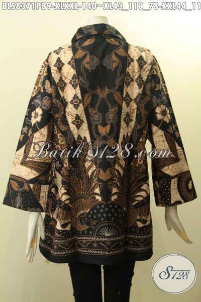 Aneka Pakaian Batik Kerja Wanita Karir, Blus Batik Berkrah Motif Klasik Bahan Adem Di Lengkapi Kancing Belakang, Di Jual Online 140K, Size XL – XXL