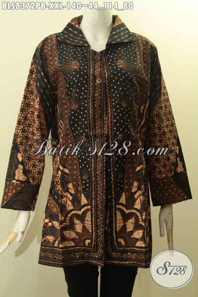 Blus Batik Motif Sinaran, Pakaian Batik Solo Elegan Berkelas Proses Printing Bahan Adem Desain Mewah, Bikin Penampilan Mempesona, Size XXL Spesial Untuk Perempuan Gemuk