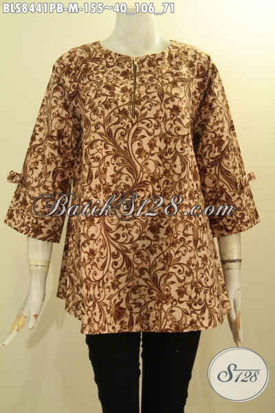 Model Baju Batik Wanita Blouse Cantik Model A Resleting Depan Lengan Berpita, Busana Batik Trendy Kekinian Bahan Ademp Motif Bagus Proses Printing Cabut Hanya 155K [BLS8441PB-M]