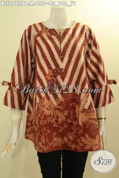 Model Busana Batik Modis Halus Elegan Dengan Lengan Berpita, Baju Batik Trendy Dengan Desain A Pakai Resleting Depan, Tampil Anggun Mempesona, Size M