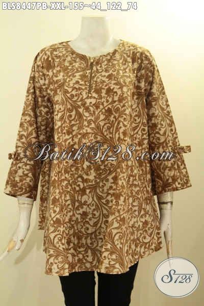 Blus Batik Jumbo Model A, Batik Kerja Wanita Gemuk Desain Keren Dengan Lengan Berpita Dan Resleting Depan Harga 150 Ribuan, Size XXL