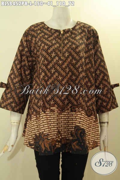 Produk Baju Batik Jawa Tengah Untuk Wanita Karir, Blus Model A Dengan Lengan Berpita Dan Resleting Depan, Tampil Cantik Menawan, Size L