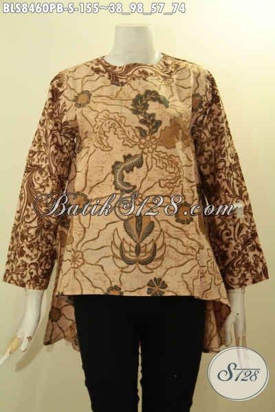 Koleksi Baju Batik Wanita Trendy Dengan Kancing Belakang Dan Lengan Tumpuk, Blus Batik Istimewa Depan Lebih Pendek Dari Belakang Hanya 155K, Size S5