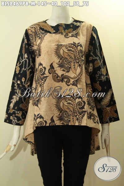 Model Batik Blouse Wanita Terbaru Dengan Bagian Depan Lebih Pendek Dari Belakang, Pakaian Batik Masa Kini Nan Istimewa Bahan Adem Dengan Lengan Tumpuk Tampil Mempesona, Size M