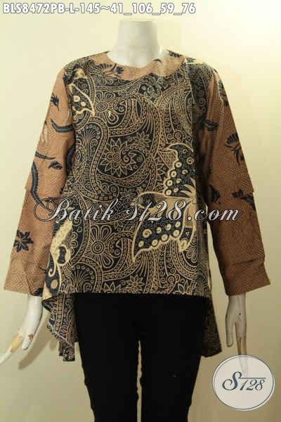 Batik Blus Model Jaman Now, Pakaian Batik Trendy Nan Modis Bahan Adem Kwalitas Istimewa DFesain Lengan Tumpuk Kancing Belakang Harga 145K, Size L
