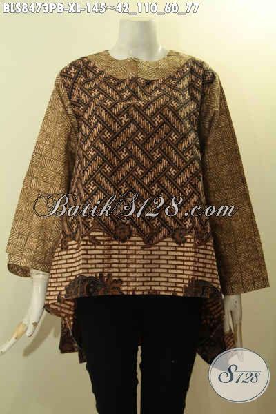 Blus Batik Wanita Dewasa, Busana Batik Elegan Halus Nan Istimewa Bahan Adem Proses Printing Kwalitas Bagus Desain Terbaru Untuk Penampilan Cantik Menawan, Size XL