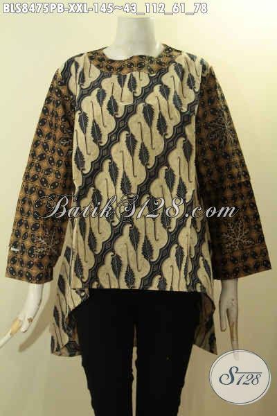 Batik Blus Wanita Keren Desain Lengan Tumpuk, Batik Kerja Cewek Panjang Depan Lebih Pendek Dari Belakang Bahan Adem Motif Elegan, Penampilan Lebih Cantik Dan Anggun, Size XXL