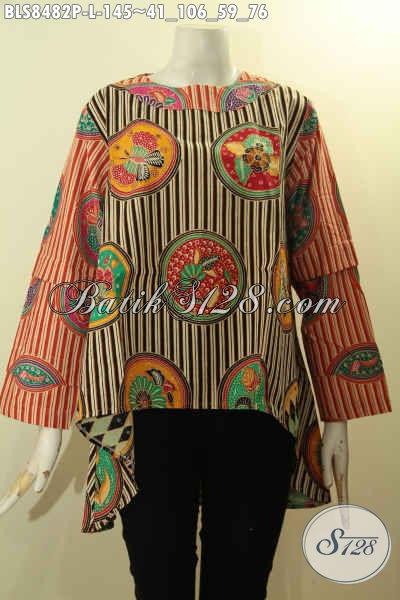 Model Busana Batik Wanita Karir Untuk Tampil Gaya Dan Mempesona, Blus Batik Hi-Lo Berpadu Lengan Tumpuk Motif Keren Serta Pakai Kancing Belakang Proses Printing Hanya 145 Ribu, Size L