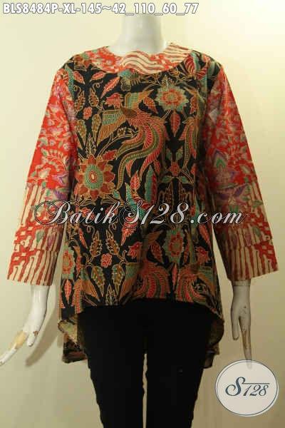 Pakaian Kerja Trendy Desain Bagus Kwalitas Istimewa Bahan Batik Printing Solo Motif Kekinian, Produk Baju Batik Terbaik Dengan Harga Termurah, Size XL