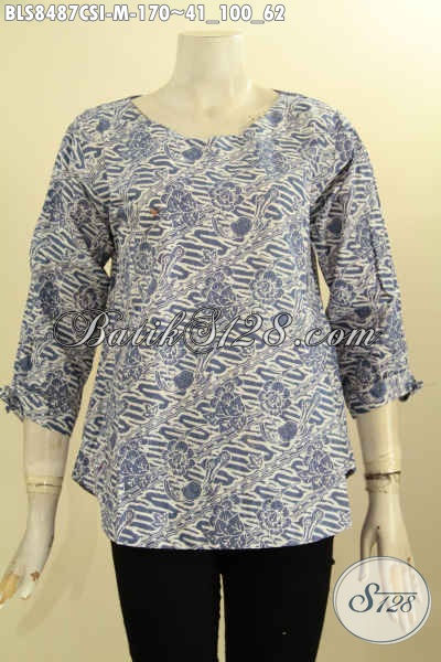 Baju Batik Atasan Wanita Blus Kancing Belakang Dengan Lengan Bertali, Busana Batik Modis Untuk Kerja Tampil Gaya, Size M