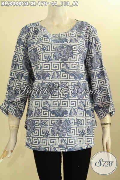 Baju Batik Blus Wanita Size XL, Hadir Dengan Lengan Berlai Motif Bagus Kwalitas Istimewa, Busana Batik Modern Pakai Kancing Belakang, Tampil Lebih Bergaya