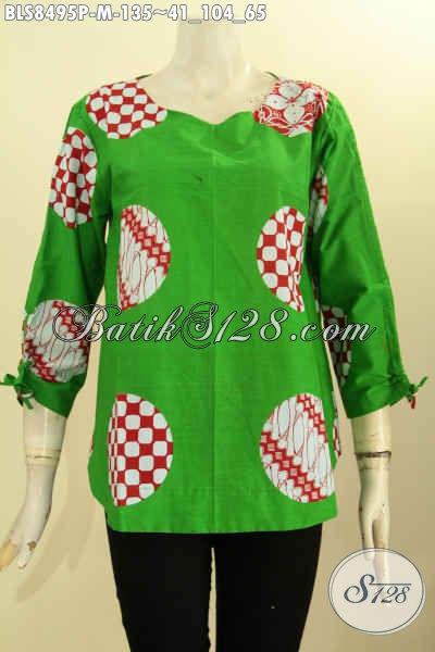 Batik Blus Modis Warna Hijau Dengan Motif Piringan, Baju Batik Trend Masa Kini Dengan Kancing Belakang Serta Bertali Di Bagian Lengan, Tampil Cantik Dan Modis [BLS8495P-M]