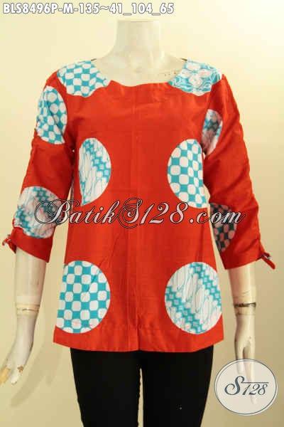 Busana Batik Kerja Keren Dan Modis, Pakaian Batik Blus Modern Lengan Bertali Di Lengkapi Kancing Belakang Desain Kekinian, Bikin Penampilan Cantik Menawan, Size M