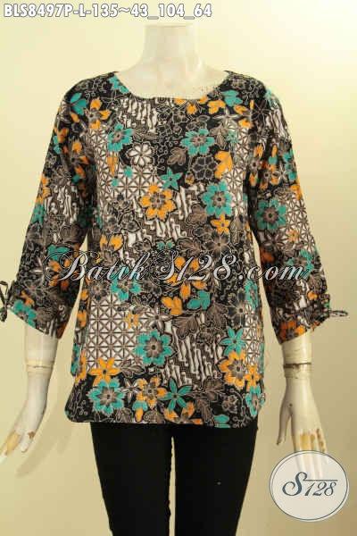 Pakaian Batik Wanita Terbaru Yang Membuat Penampilan Lebih Anggun Mempesona, Hadir Dengan Model Kancing Belakang Dan Bertali Di Bagian Lengan Bahan Halus Nyaman Di Pakai, Size L