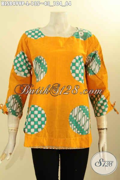 Produk Baju Batik Solo Modis, Pakaian Batik Keren Jawa Tengah Untuk Wanita Tampil Gaya, Busana Batik Atasan Blus Kancing Belakang Lengan Bertali, Cocok Buat Ngantor Dan Hangout, Size L