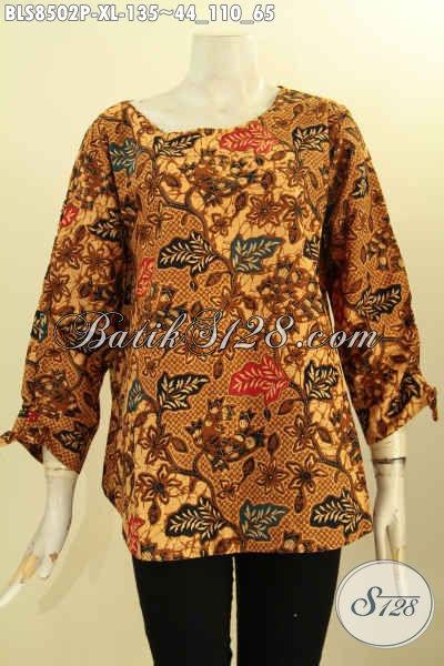 Pakaian Batik Motif ELegan Desain Modern, Baju Batik Solo Jawa Tengah Halus Lengan Bertali Bahan Adem Proses Printing Di Lengkapi Kancing Belakang Hanya 100 Ribuan, Size XL