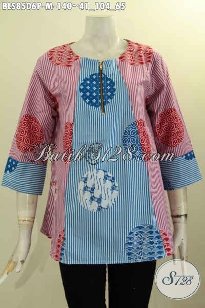 Model Baju Batik Blouse Atasan Wanita Kancing Depan, Busana Batik Trendy Lengan 7/8 Bahan Adem Motif Keren Proses Printing Harga 140K, Size M