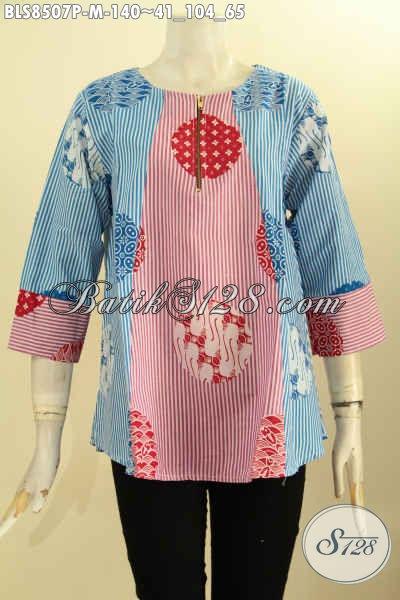 Blus Batik Resleting Depan Motif Keren Proses Printing, Busana Batik Wanita Muda Lengan 7/8 Bahan Halus Nyaman Di Pakai Harian Harga 140K [BLS8507P-M]