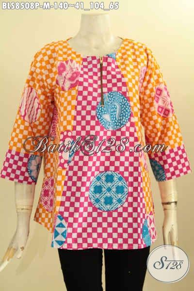 Model Baju Batik Wanita Muda Lengan 7/8, Blus Batik Solo Keren Warna Cerah Dengan Kancing Depan Kwalitas Bagus Proses Printing, Bikin Penampilan Terlihat Segar [BLS8508P-M]