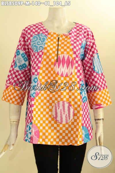 Olshop Baju Batik Solo Paling Up To Date, Sedia Blouse Batik Atasan Lengan 7/8 Dengan Kancing Depan, Busana Batik Solo Istimewa Proses Printing Harga 140K, Size M