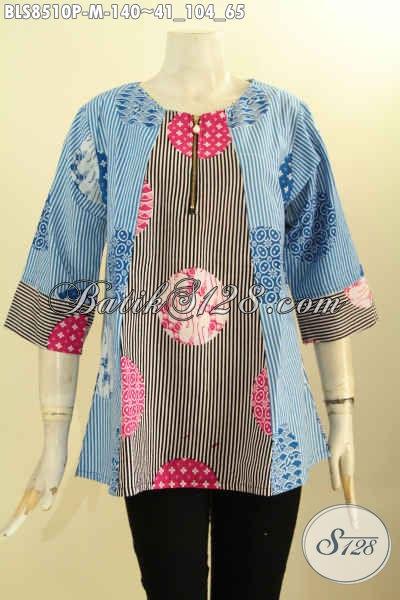 Busana Batik Wanita Warna Kombinasi Motif Bagus Proses Printing, Blouse Batik Modern Kancing Depan Lengan 7/8 Kwalitas Istimewa Harga 140K, Size M