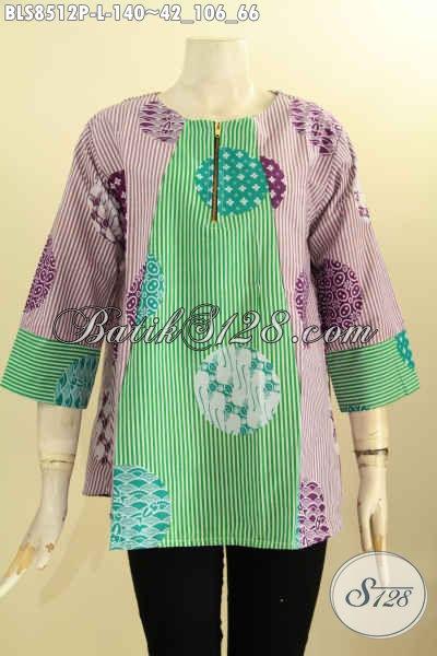 Produk Baju Batik Solo Istimewa Motif Keren Warna Kombinasi, Batik Blus Lengan 7/8 Kancing Depan Nan Istimewa, Penampilan Cantik Mempesona, Size L