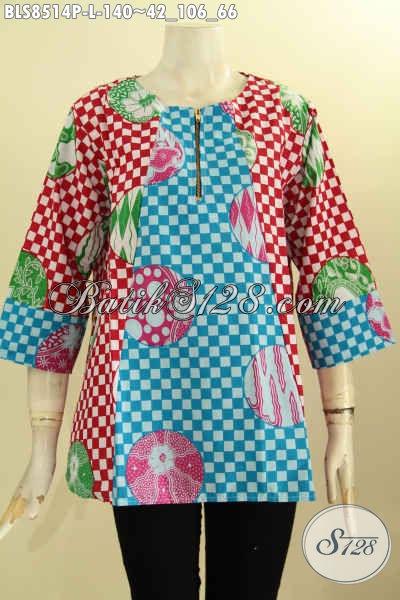 Koleksi Busana Batik Wanita Tren Model 2018, Pakaian Batik Blouse Kancing Depan Dengan Lengan 7/8 Bahan Halus Proses Printing, Tampil Cantik Dan Gaya, Size L