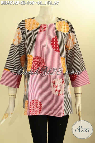 Pakaian Batik Blus Solo Terbaru Kwalitas Istimewa Model Lengan 7/8 Kancing Depan Bahan Adem Proses Printing, Penampilan Lebih Gaya Dan Mempesona, Size XL