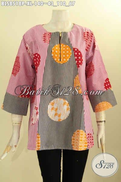 Pakaian Batik Solo Jawa Tengah Terbaru Model Kancing Depan Lengan 7/8 Bahan Halus Ukuran XL, Wanita Dewasa Tampil Mempesona