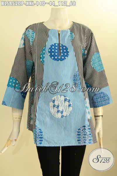 Baju Batik Blouse Istimewa Untuk Tampil Cantik Dan Gaya, Bahan Adem Model Kancing Depan Lengan 7/8 Size XXL Harga 140K